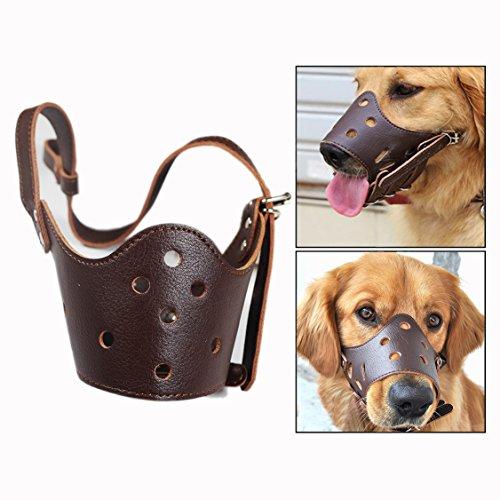 Itian Bozales para perros - anti mordiscos, Bozales para perros cuero (marrón)