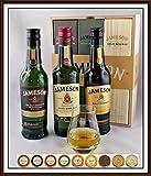 3 x 200ml Jameson irischer Whiskey im Holzkistchen mit Spey Dram Glas und 9 DreiMeister Edel Schokoladen, kostenloser Versand