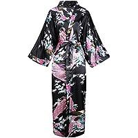 BABEYOND Kimono de Seda Vestido de Satén Kimono Pavo Real Novia Pijamas de Seda Bata de Satén (Negro)