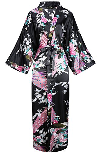 Geisha Japanische Kostüm - BABEYOND Damen Morgenmantel Maxi Lang Seide Satin Kimono Kleid Pfau Muster Kimono Bademantel Damen Lange Robe Schlafmantel Girl Pajama Party (Schwarz)