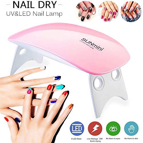 Sèche Ongles UV LED,Sèche Ongles Vernis Ordinaire Mini Lampe pour Ongles Gel Semi-Permanent Seche Ongles Professionnel Nail Art Manicure (Rose)