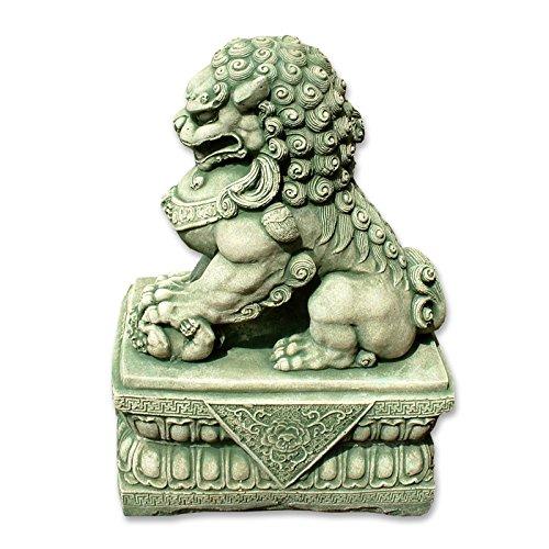 cane-fu-o-leone-cinese-foo-statue-arenaria-maschio-o-femmina-decorazione-importata-di-thalande-verde