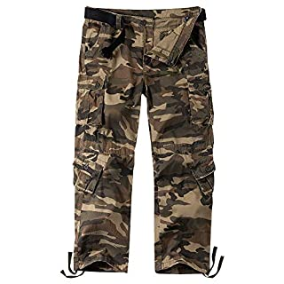 Jessie Kidden Men's Cargo Tactical Regular Trouser Multi Army Combat Work Trousers Workwear Pants with 8 Pocket #7533 Grey Camo-42