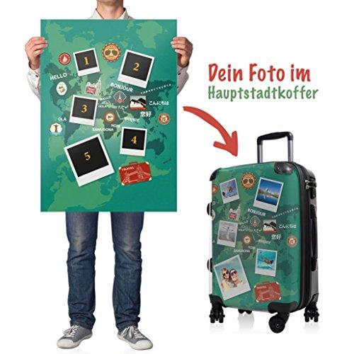 """HAUPTSTADTKOFFER® · Hartschalenkoffer Handgepäck Koffer Trolley Reisekoffer Hartschale · Serie """"Style"""" (Retro Sommer Strand) World Polaroid Grün"""