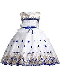 Miyanuby Vestido de Princesa, Chica Sin Mangas Lentejuelas Diamante de Imitación Decoradas Vestido de Fiesta