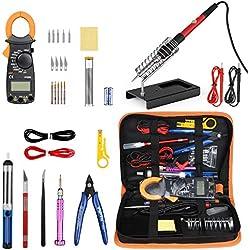 Kit de fer à souder avec multimètre numérique à pince, outil de soudage à la température réglable Pancellent 60W, tournevis 5-en-1, 5 pointes de fer à souder, ventouse à souder, coupe-fil, brucelles
