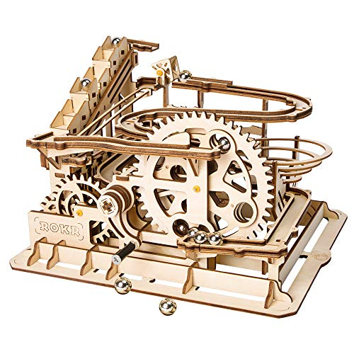 SEX 3D Wooden Puzzle Game Handmade Marble Run Model Building Kit Best Christmas, Boy and Girl Birthday Gift (waterwheel Roller Coaster)