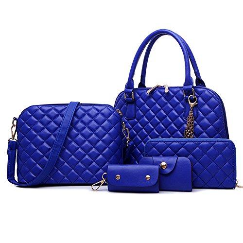 fanhappygo Damen PU-Leder Shopper Shopping Schultertasche Messenger Handtasche Muße Umhängetaschen Clutch 5 sets blau