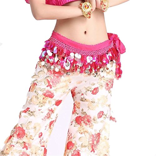 Danse du ventre costume Hip écharpe jupe Dance Accessories Tribal 2 Rangées 88 Gold Bead Coins Costume Dark Pink