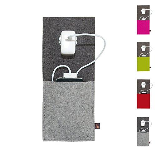 ebos Ladestation ✓Ladetasche aus echtem Wollfilz ✓ für Handys, Smartphones und Digitalkameras (Grau)