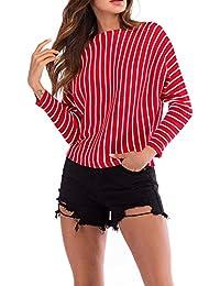 VJGOAL Mujeres Otoño E Invierno Moda Casual Clásico Salvaje A Rayas O Cuello de Manga Larga de Punto Jersey Jumper Pullover Top Blusa