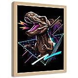 carowall CAROWALL.COM Stampa Foto T-Rex Cornice di Legno Astratto Multicolore 40x60 cm