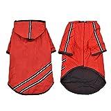 XUJW-PET, Dog Regenmantel mit wasserdichtem, leichtem, verstellbarem Reflexionsband Slicker (4 Größen 4 Farben) ( Color : Red , Size : XL(Back40cm Chest52cm) )