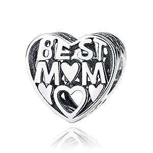 """Lovebeads Herzanhänger, Inschrift: """"Best Mom"""", 925er-Sterlingsilber, der Anhänger ist geeignet für Pandora-Anhänger und andere europäische Armbänder"""