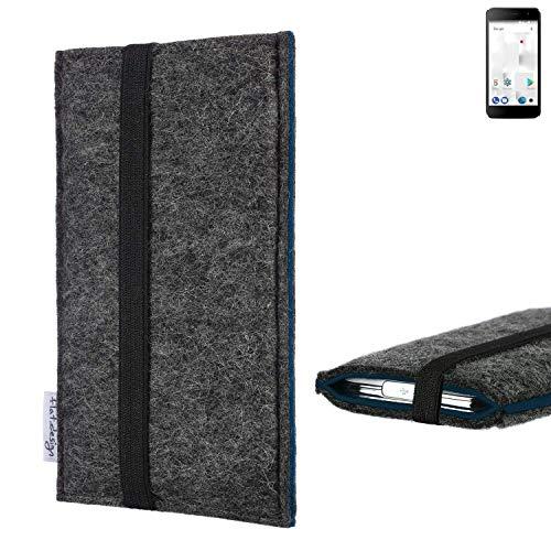 flat.design Handyhülle Lagoa für Thomson Friendly TH101 | Farbe: anthrazit/blau | Smartphone-Tasche aus Filz | Handy Schutzhülle| Handytasche Made in Germany