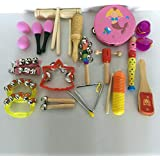 Meiyiu Wooden Educational Teaching Percussion Drums Bell Musical Instrument Set Toy 11pcs/Set For Girl