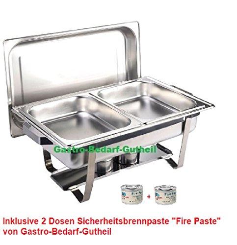 Chafing Dish -Twin-, Edelstahl, bestehend aus: 1 Gestell mit Deckelhalterung, 1 Wasserbecken 2 Speisebehälter GN 1/2 - Tiefe 65 mm + 2 x Brennpaste von Gastro-Bedarf-Gutheil®
