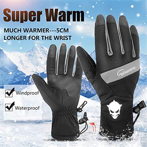 BESTSOON Winter-Mann-Frauen-Touch Screen Winddichte Wasserdichte warme Handschuhe Winddichte Fahrradhandschuhe (Farbe : Grau, Größe : XXL)