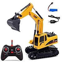 Tawcal RC Excavator Digger, Remote Control Excavators for Kids RC Toy Digger Battery Operated Excavator for Sand Pit,Diecast Vehicle for Kids Boys