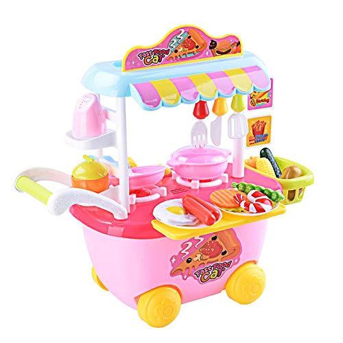 Xyanzi Kinderspielzeug Kinder Küche Spielzeug Set Mädchen Jungen Simulation Mini Küchengeschirr Dress Up Spiel Trolley Kochen Spielzeug (Farbe : Pink) (Up Spielen Pink Dress)