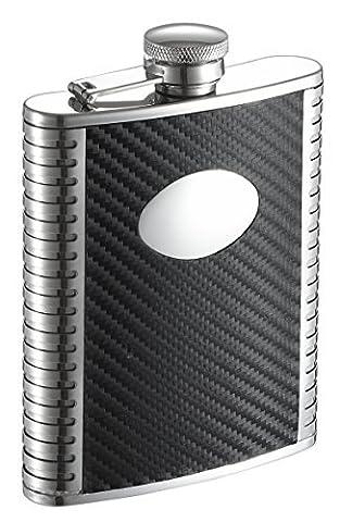 Visol Monte Carbon Fiber Leather Liquor Flask, 6 oz, Black by Visol