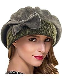 96fb343764df1 Ruphedy Women French Beret - 100% Wool Beret Knit Beanie Winter Dress Hat  Hy022