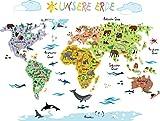 Wandsticker Weltkarte Kinder | Geographie & Tierwelt spielerisch Erlernen mit der Wandtattoo / Wandsticker Weltkarte von Tokopi | pädagogisch wertvoll | selbstklebend & repositionierbar | klebt auch auf Raufasertapete | von Pädagogen gemeinsam mit Müttern entwickelt - Tokopi ®