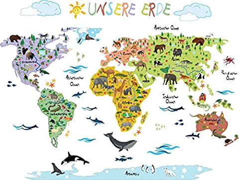 Wandsticker Weltkarte Kinder | Geographie & Tierwelt spielerisch Erlernen mit
