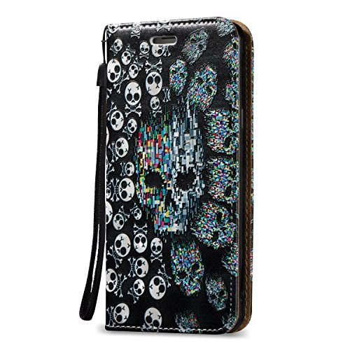Tasche Luxus Hülle für Samsung Galaxy A5 (2016) A510 Leder Hülle,Handytasche SchutzHülle Brieftasche Wallet Flip für Samsung Galaxy A5 (2016) A510, TOCASO Leder Case Cover Glitter Strass Bling Leder T Farbe Schädel