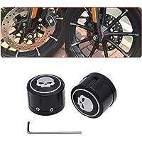 tuincyn Motorrad Aluminium Vorderachse Cover Überwurfmutter Bolt Totenkopf Deko Hardware Kit für Harley Sportster XL883XL1200Schwarz (1Paar)