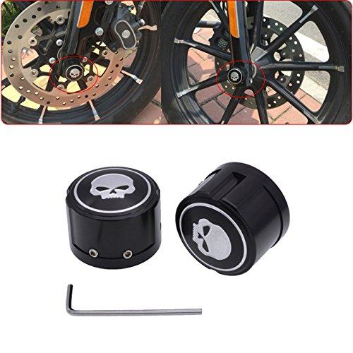 Preisvergleich Produktbild tuincyn Motorrad Aluminium Vorderachse Cover Überwurfmutter Bolt Totenkopf Deko Hardware Kit für Harley Sportster XL883XL1200Schwarz (1Paar)