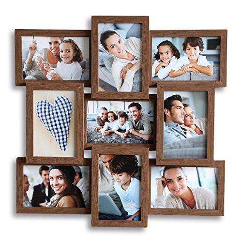 levandeo Holz Bilderrahmen hochwertig verarbeitet für 9 Fotos 10x15cm mit Glasscheiben in Farbe: Nussbaum braun - Querformat und Hochformat Fotogalerie Collage Fotocollage Bildergalerie Fotorahmen