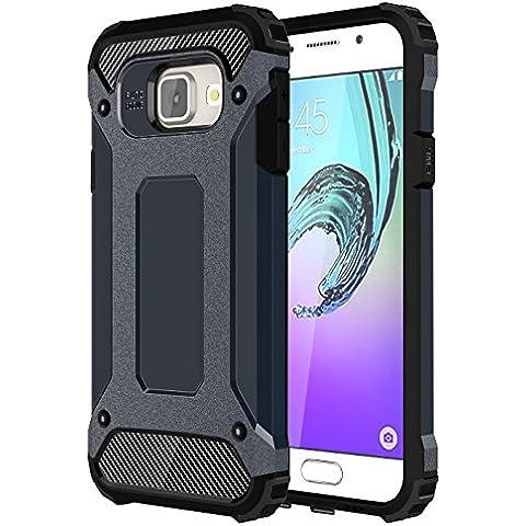 Galaxy A3 2016 Funda, Pasonomi® [Pesada] [Doble Capa] Carcasa de Protección Hibrida Armadura Funda para Samsung Galaxy A3 2016, Azul oscuro
