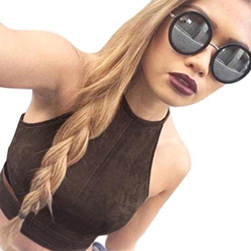 feiXIANG mode frauen Damen Enge ausgesetzt Nabelschnur T-Shirt tank tops bustier bh westehemd bralette bluse (L, Braun) (Junior-stretch-tops)