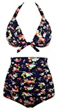 Angerella Retro Polka-Punkt Badeanzug mit hoher Taille Bikini Set(BKI045-N1-M)
