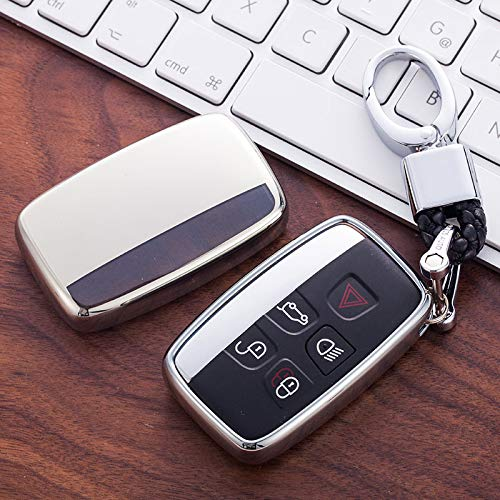 Chiave guscio cover per Range Rover Smart Remote Fob 5 pulsante sport Evoque Vogue Iscovery 4 Land Rover LR4 Shell Silver (with key chain)