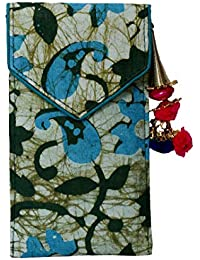 Batic Prints Hand Mobile Cover With Back Zip Pocket And Latkan For Women-Green Print