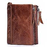 Cuir de vachette véritable Mens Wallet avec carte de crédit porte Bifold Zip sac cadeau emballé (Marron) - hd001