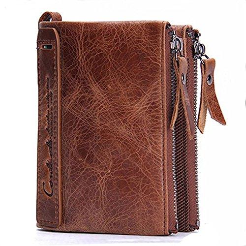 Portafoglio uomo vera pelle di vacchetta con carta di credito titolare Bifold Portamonete a doppia tasca con zip borsa regalo inscatolato (marrone) - hd001