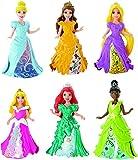 Disney Magiclip Geschenkset CDR73 mit 6 Puppen, Tiana, Belle, Cinderella, Dornröschen, Arielle und Rapunzel