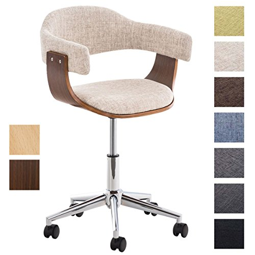 CLP Design-Bürostuhl BRÜGGE mit hochwertiger Polsterung und Stoffbezug | Höhenverstellbarer Schreibtischstuhl mit Einer gepolsterten Sitzschale Creme, Holzfarbe: Walnuss