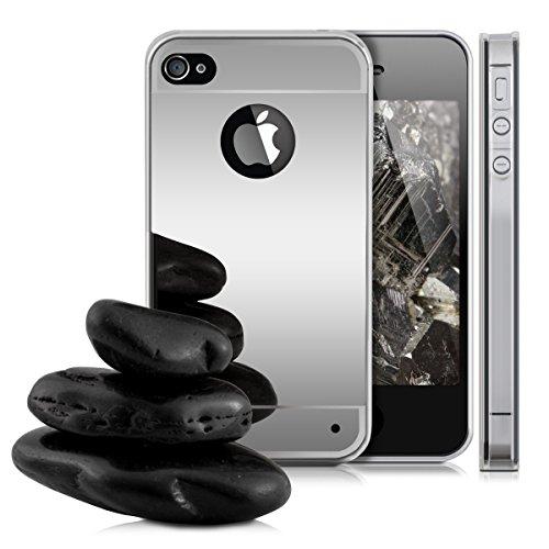 kwmobile Hülle für Apple iPhone 4 / 4S - TPU Silikon Backcover Case Handy Schutzhülle - Cover Schwarz .Silber spiegelnd