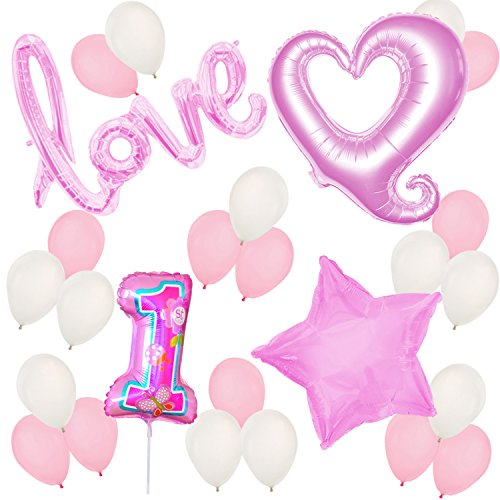 First Birthday Balloons and Decorations - 1st Birthday - Baby Girl Birthday Party