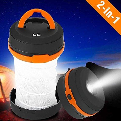 LE Laterne Zusammenklappbare led Taschenlampe mini LED Notfallleuchte 3 Helligkeiten Aussenleuchte für Camping Outdoor Wandern Angeln Abenteuer Campinglampe Ausfälle (1 er) - 2