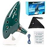 Kmise Ocarina 12 toni Alto C con cordino da collo per espositore per libro di canzoni (green)