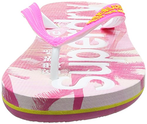 Superdry Aop, Infradito Donna Multicolore (Fluro Pink/Cyber Yellow/Pink Palm Print)