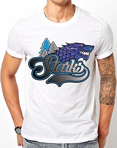 Juego de Tronos Starks fútbol béisbol baloncesto blanco T Shirt, Bla