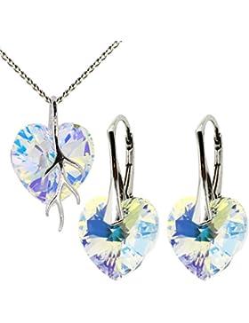 9 Farb Varianten - Set Ohrringe-Anhänger Kette mit Haare Schutz! M3crystal mit Herz Kristallen von Swarovski Herz...