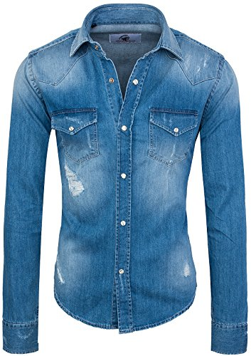 Rock Creek Herren Jeanshemd Denim RC-013 [Blau M]