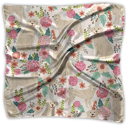 Elegant Silk Feel Golden Retriever Floral Dogs Satin Square Scarf Wrap -